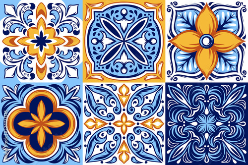 Italian ceramic tile pattern. Ethnic folk ornament. © incomible