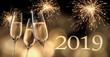 Leinwandbild Motiv Champagergläser mit Feuerwerk 2019