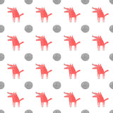 Wolf and Full Moon seamless pattern, vector illustration