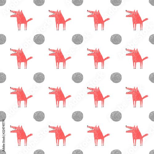 Fototapeta Wolf and Full Moon seamless pattern, vector illustration