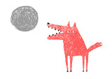 Wolf and Full Moon, vector illustration