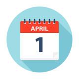 April 1 - Calendar Icon - 224751366