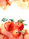 Watercolor card with splash and apple on white background.The color splashing in the paper.It is a hand drawn. Illustration for design, print or background. - 224759134