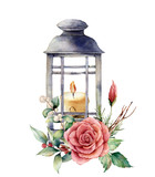 Watercolor lantern with candle and holiday decor. Hand painted traditional lantern with rose and plant isolated on white background. For design or print. - 224759156