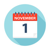 November 1 - Calendar Icon - 224760363