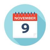 November 9 - Calendar Icon - 224760523