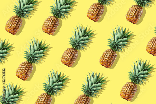 Colorful fruit pattern of fresh whole pineapples - 224763522