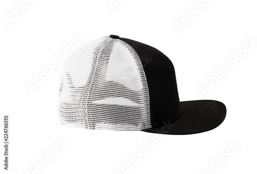 658024b0 Side view of black snapback cap with mesh isolated on white background.  Blank baseball cap