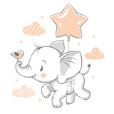 Vector illustration of a cute baby elephant flying with a balloon.