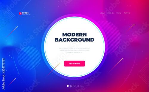 Liquid color background design with circle. Fluid gradient shapes composition. Futuristic design posters. Eps10 vector. - 224775757
