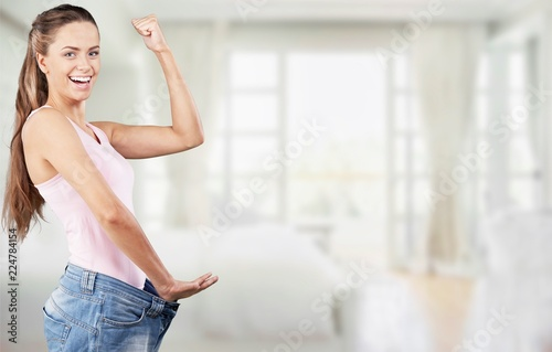 Leinwanddruck Bild Weight Loss Woman, isolated on  background