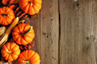 Leinwanddruck Bild - Autumn side border of pumpkins and fall decor on a rustic wood background with copy space
