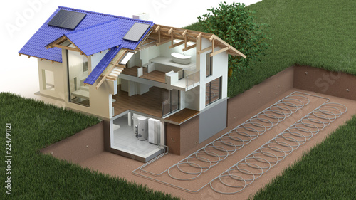 Leinwanddruck Bild  Heat Pump, ground source