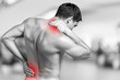 Leinwanddruck Bild - Strong man with neck pain, back view