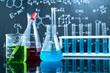 water black orange solution in science laboratory background