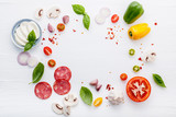 The ingredients for homemade pizza on white wooden background.. - 224800579