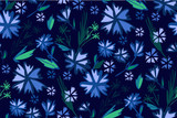 Floral seamless pattern with different flowers and leaves.