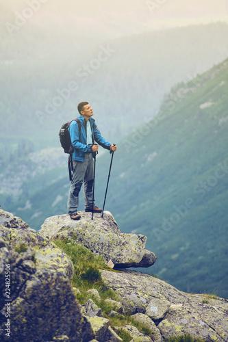 The man on the rock. Walk to the High Tatras, Slovakia. Europe