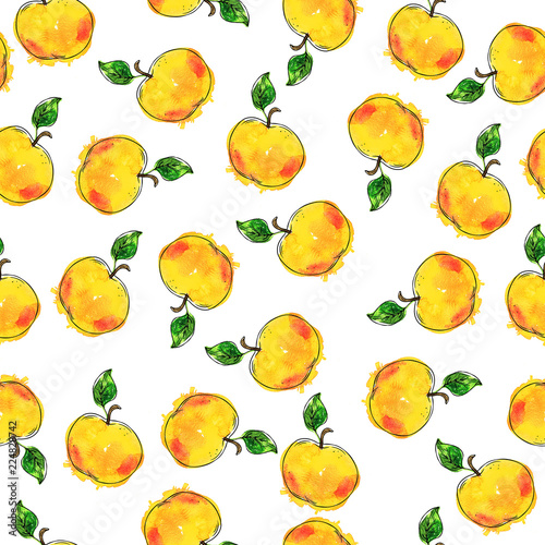 seamless-pattern-with-yellow-fresh-apples-and-green-leaves-on-white-background-hand-drawn-watercolor-and-ink-illustration
