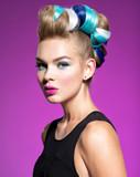 Beauty Fashion Model Girl with  creative hair