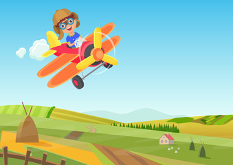 Cute little boy flying in airplane above the fields. Funny flying airplane cartoon vector illustration.