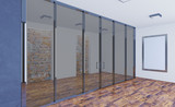 3D rendering. Business center. A modern empty office with large glass partitions. Meeting room. Blank paintings.  Mockup.