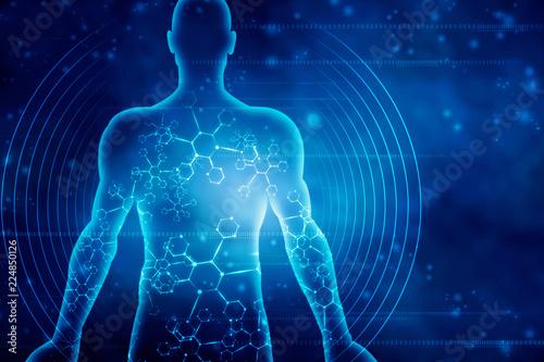2d ilustracji Ludzki mężczyzna mięśni ciała