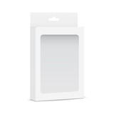 White blank box mockup with transparent window and hanging tab - half side view. Packaging for mobile accessories. Vector illustration - 224851792