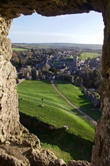 View From Stone Castle Window of Small English Country Town at Sunset, Corfe