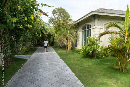 Foto Murales Villa path way at the tropical resort