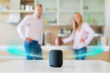 Couple talking and listening to smart speaker at home - 224868380