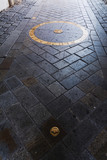 Bratislava kilometer Zero at St. Michael's gate. Slovakia