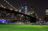 Long time exposure of New York City Manhattan downtown skyline and Brooklyn Bridge  at night viewed from Brooklyn Bridge park - 224890538