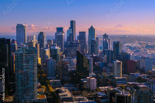 Foto Murales View of downtown Seattle skyline in Seattle Washington, USA