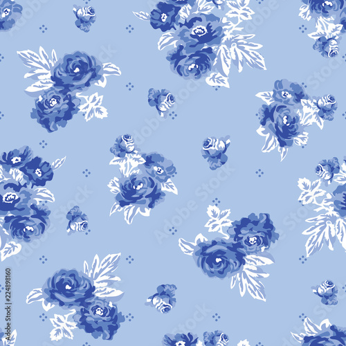 seamless pattern with blue flowers - 224898160