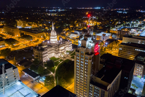 Downtown Lansing Michigan Night Aerial Photo