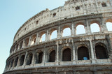 Facade of the Colosseum in Rome Italy