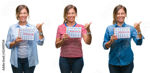 Leinwandbild Motiv Collage of middle age hispanic woman holding menstruation calendar over isolated background pointing and showing with thumb up to the side with happy face smiling