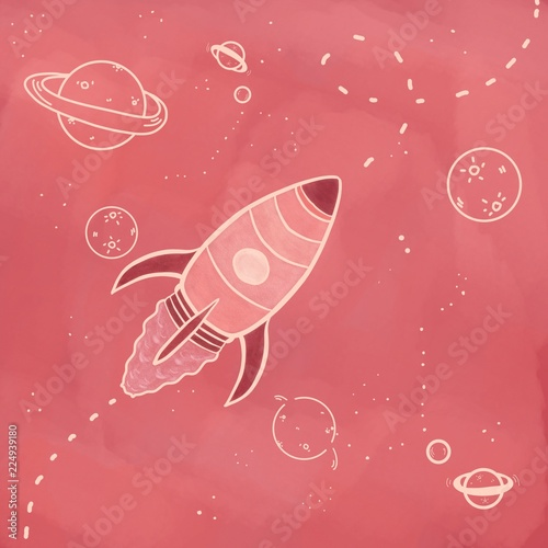 Fototapeta Space rocket and planets with stars