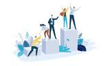 Vector illustration concept of team building. Creative flat design for web banner, marketing material, business presentation, online advertising. - 224946995