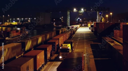 Container load on truck - timelapse - shot at night. just in time logistics