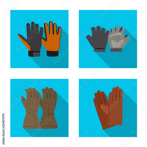 Isolated object of glove and winter logo. Set of glove and equipment stock symbol for web.