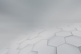 Gray perspective background. Hexagonal geometric concept. - 224982521
