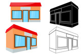 Shop building. Front and side view. 3d and outline drawing - 224990169