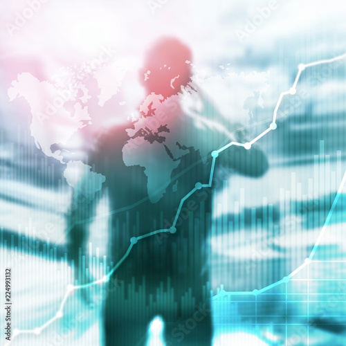 Business abstract background double exposure graph, chart and diagram. World wide map and. Global business and financial trading concept. - 224993132