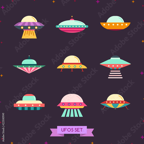 Ufo flat icon set. Clean and simple design.