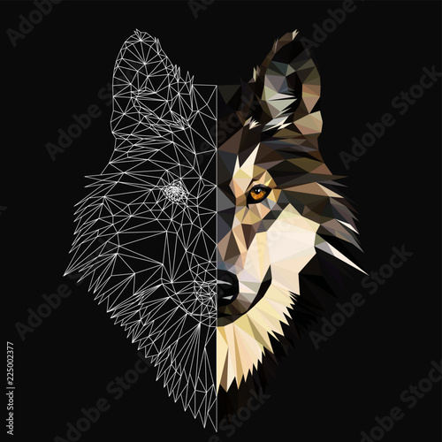 Fototapeta Wild wolf face on grey background, low poly triangular and wireframe vector illustration. Polygonal style trendy modern logo design. Suitable for printing on a t-shirt.