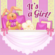 Cute poster with a soft toy and pillows in the room newborn girl. Sketch for invitation or greeting card for the birth of the child. Vector cartoon close-up illustration. - 225003316