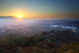 Beautiful scenery during sunrise, Mountains mist of top view at Mandalay hill in Myanma