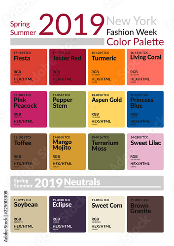 New York Fashion Week Spring Summer 2019 Color Palette Colors Of